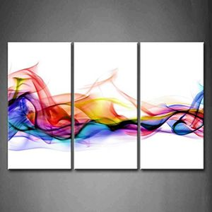 3 Panel Wall Art Fresh Look Color Abstract Smoke Colorful White Background Canvas Hanging Painting for Sale in Colorado Springs, CO