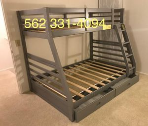 🚩Gray Full/Twin Bunk Bed w Drawers, Orthopedic Supreme mattresses Included for Sale in Tracy, CA