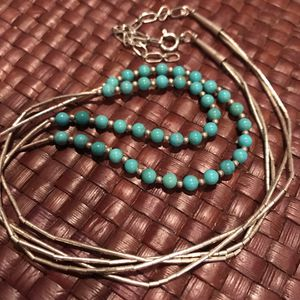 Navajo 2 liquid silver strand necklace with turquoise for Sale in Silver Spring, MD