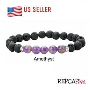 Natural Stone Amethyst And Lava Stones Mens Large Bracelet for Sale in Baltimore, MD