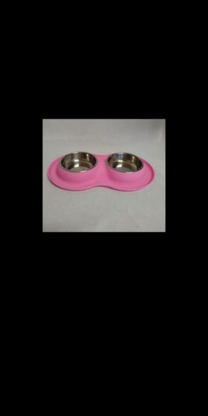 New. Pet Bowls. 2 Stainless Steel Bowls with No Spill, Non-Skid Silicone Mat for Sale in Corona, CA
