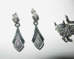Black & White Diamonds Earrings Long Drop Dangle Silver White Gold signed BR Sun for Sale in Hutto, TX