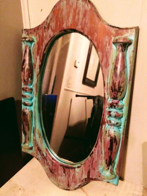 Wood shabby chic mirror for Sale in Wichita, KS