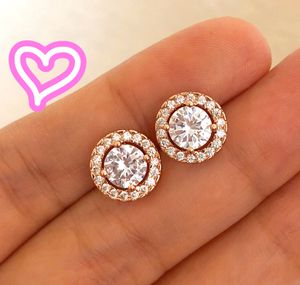 18K Rose Gold Plated Halo Stud Earrings for Sale in San Ramon, CA