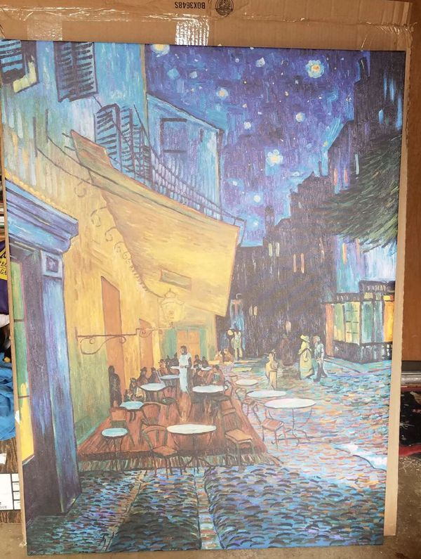 Cafe Terrace at Night Painting