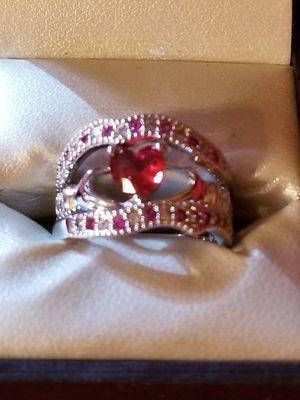 Ruby wedding 3 piece set. Sterling silver size 7 for Sale in Bonifay, FL