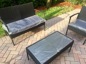 4-piece Black Wicker/Rattan Patio/Outdoor/Yard/Outside Furniture set - NEW + ASSEMBLED for Sale in Pompano Beach, FL