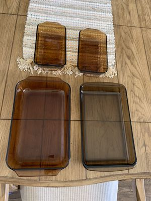 4 Pyrex and Anchor Hocking Amber Brown Casserole Dishes for Sale in Chandler, AZ