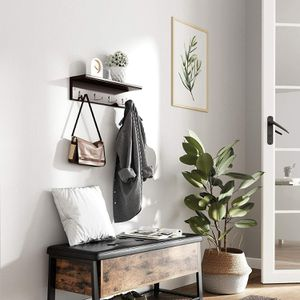 Entryway Hanging Coat Rack, with 4 Double Hooks, Wall Floating Shelf, Dark Brown for Sale in Ontario, CA