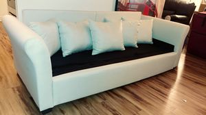 Newly assembled cream white upholstery couch (new pillows as well) for Sale in Alexandria, VA