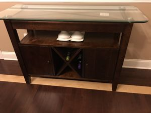 Buffet table with stone and glass top, 4 bottle wine holder for Sale in Robbinsville, NJ