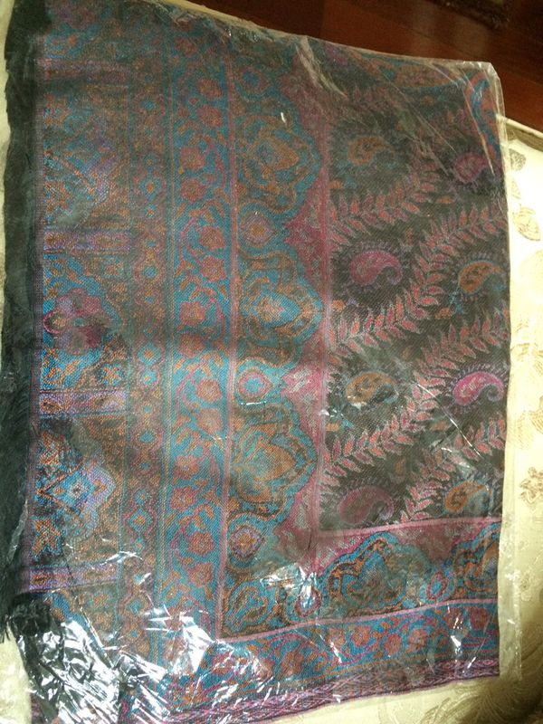 New black rust turquoise paisley patterned scarf