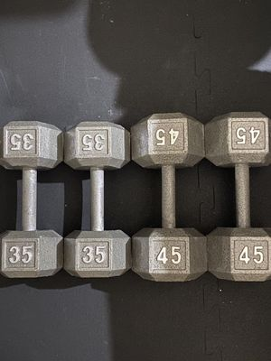New 35 lbs AND 45 lbs dumbbells pairs for Sale in Irvine, CA