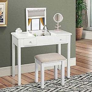 Vanity Table with Flip Top Mirror Makeup Dressing Table Writing Desk with Cushioning Makeup Stool Set for Sale in Hacienda Heights, CA