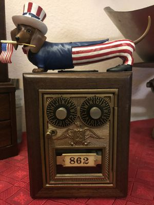 Antique Double Dial Eagle Post Office Lock Box Bank #862. Handcrafted. Solid wood for Sale in Jurupa Valley, CA