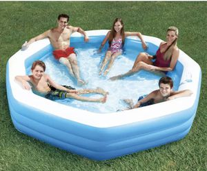 Pool Summer Waves 10' Octagonal Inflatable Family Swim Pool Backyard Kid Drink Holder for Sale in The Colony, TX