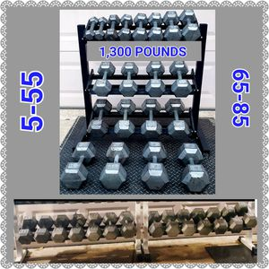 1,300 POUNDS OF DUMBBELLS, A WHITE TUFF STUFF 2 TIER RACK, A BLACK 3 TIER RACK, 5-55 LBS & 65-85 LBS for Sale in Saginaw, TX