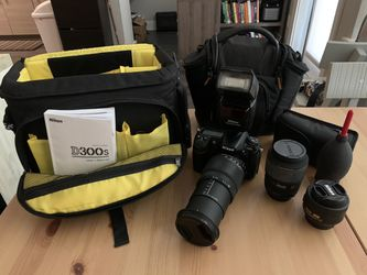 NIKON D300s - 18-250 mm SIGMA lens, 105 mm SIGMA lens, 35 mm Nikon lens, case and travel case, two batteries, charger, memory card for Sale in Denver,  CO
