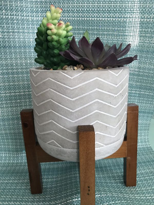"""#2 7"""" artificial succulent on wooden stand"""