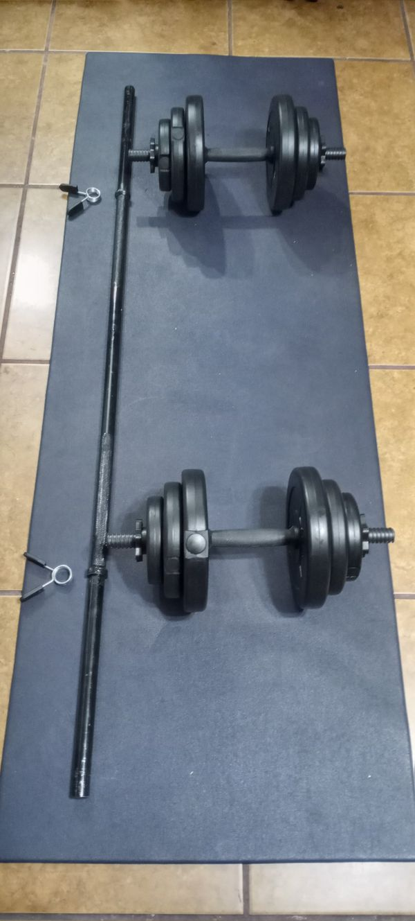 Adjustable dumbbells weights set.4x5lbs.4x2.5lbs.4x1.5lbs.total.40lbs.plus 5 feet barbell. brand new in box