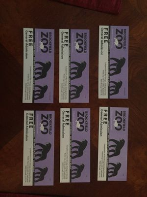 Brookfield Zoo tickets 6 tickets for $60 for Sale in Chicago, IL