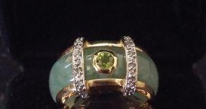 A beautifull set- 14k fine jade peridot diamond ring +10k peridot diamond ring+ 14k pair of peridot stud earrings. for Sale in Ontario, CA
