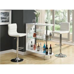 Coaster Modern Bar Unit With Wine Bottle Storage Glossy White 101064 for Sale in Missouri City,  TX