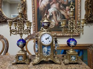 Antique imperial clock set w candelabras bronze and porcelain for Sale in Miami, FL
