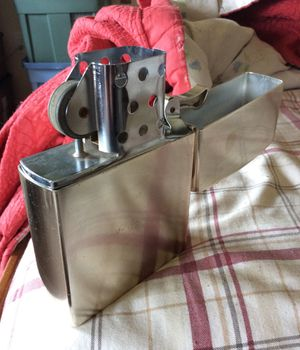 """Very large lighter 6 3/4"""" x 4.5"""" x 1.5""""....this works like a Zippo. Flint included not fluid. Stainless for Sale in UPPR MORELAND, PA"""