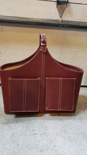 Leather magazine holder / rack for Sale in Northport, NY