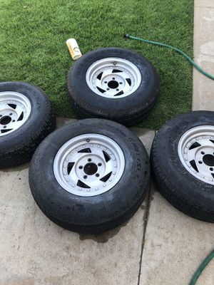 Trailer rims and tires 14 inch 50.00 each for Sale in Oak Glen, CA
