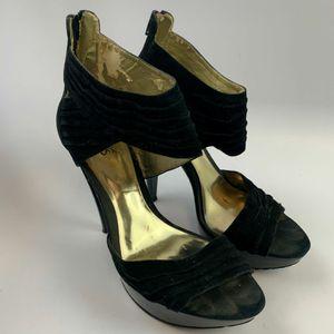 Carlos Santana 10 US Women High Heels Stiletto Black Peep Toe Zipper/Ankle Strap Solid Inside shoe material is peeling off for Sale in Edinburg, TX