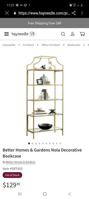 Gold bookshelve for Sale in Visalia, CA