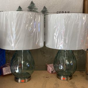 Pair Of Green Glass Lamps - New for Sale in Puyallup, WA