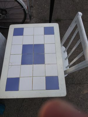 Blue and white small table with white chair for Sale in Attleboro, MA