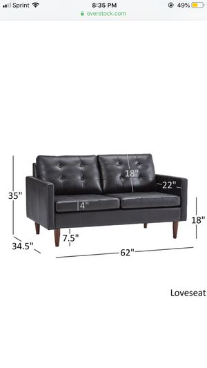 Shawna Black Button Tufted Leather Gel Sofa by iNSPIRE Q Modern - Loveseat for Sale in Olney, MD
