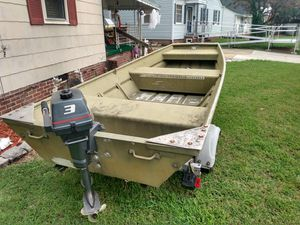 12-ft Jon boat trailer and motor for Sale in Norfolk, VA
