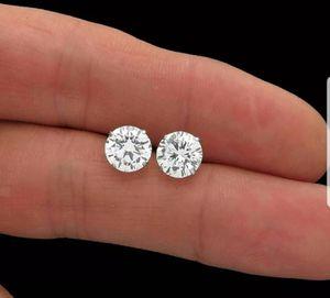 New 3ct moissanite diamonds stud earrings, solid 14k white gold! for Sale in Bloomfield Hills, MI