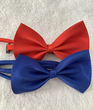 Red & Blue Adjustable Silk Pet Bow Ties for Sale in Springfield, VA