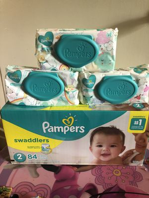 Pampers swaddlers size 2 (84 DIAPERS + 168 WIPES)- -$25 FOR ALL !! for Sale in Riverdale, GA