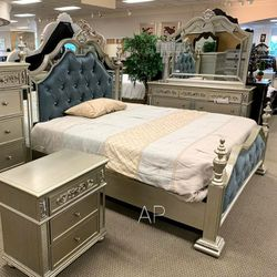 👉Sterling Silver Mirrored King Poster Bed for Sale in Silver Spring,  MD