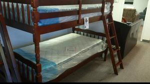 Brand New Twin Size Cherry Wood Bunk Bed w/2 Mattresses for Sale in Silver Spring, MD