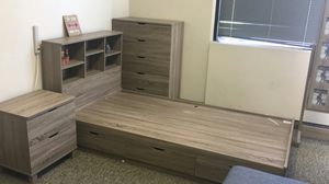 Twin Size 3-Drawer Storage Bed Frame with Bookcase Headboard, Dark Taupe for Sale in Fountain Valley, CA