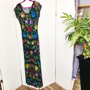 Vintage Sequined Full Length Sheer Evening Dress for Sale in Irving, TX