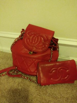 Red leather Chanel bag & wallet for Sale in Philadelphia, PA