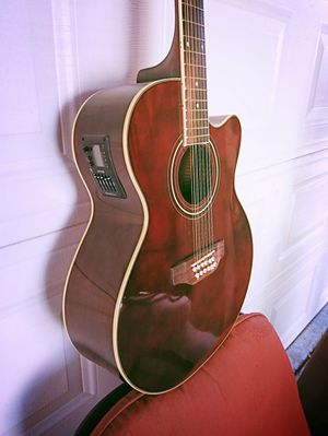 New 12 String Acoustic Electric Requinto Guitar Burgundy Combo with Gig Bag & Accessories Guitarra Electrica Acústica Docerola 12 Cuerdas for Sale in Buckeye, AZ