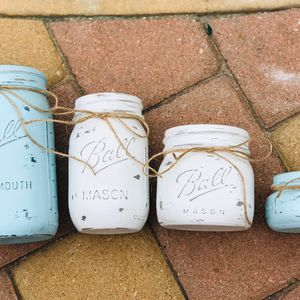 Sets of Rustic Chalk Painted Mason Jars for Sale in San Dimas, CA