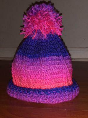 Hot Pink, Purple, Hot Pink Fuschia Burnt Hot Orange Hats w/wout Pom Poms Designer HandKnit Newborn-3 3-6 6-12 2T 3T 22 4T Kids Sizes ADT S M L for Sale in Stone Mountain, GA