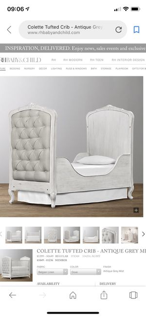Colette tufted crib- Antique grey mist from RH baby!! for Sale in Brooklyn, NY
