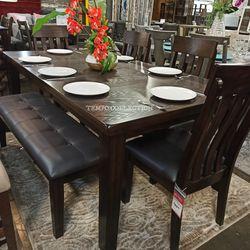 ASHLEY 6 PCS DINING SET, BROWN, SKU#TCD385 for Sale in Santa Ana,  CA
